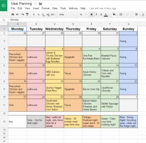 Month of meal plans laid out